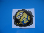 MINION PEEPER Bullet Hole Car/Van/Bumper/Window Vinyl Decal Sticker x 2